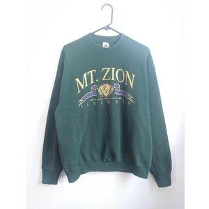 Vtg 90s Mt. Zion Illinois Green Graphic Sweatshirt